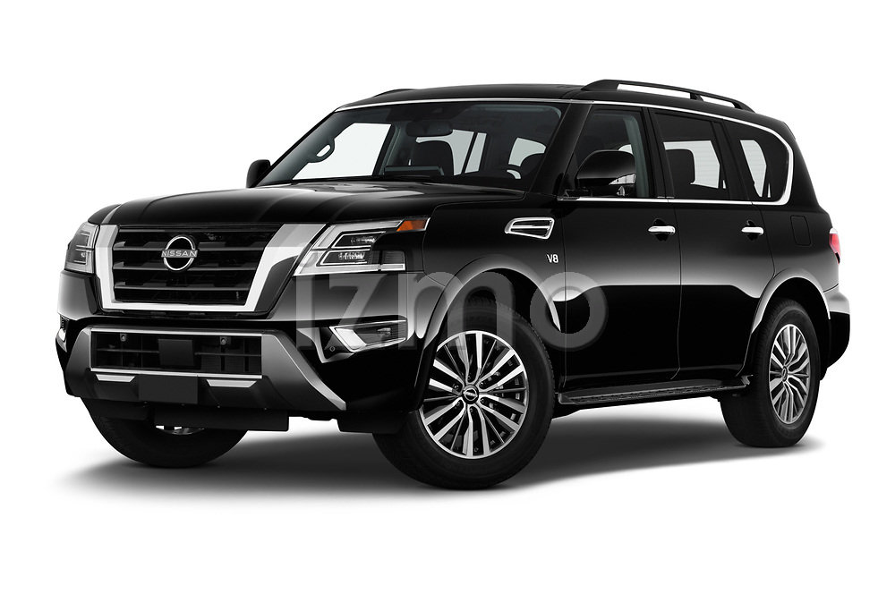 Stock pictures of low aggressive front three quarter view of 2021 Nissan Armada SL 5 Door SUV Low Aggressive