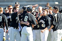 The Wake Forest Demon Deacons celebrate after coming from behind for a walk-off win against the Youngstown State Penguins at Wake Forest Baseball Park on February 24, 2013 in Winston-Salem, North Carolina.  The Demon Deacons defeated the Penguins 6-5.  (Brian Westerholt/Four Seam Images)