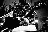 Rebel fighter casualty in Tripoli, Libya