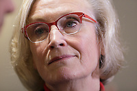the Honourable Carolyn Bennett, Minister of Indigenous and Northern Affairs adress the medias,  following a roundtable with key partners of the Urban Aboriginal Strategy in Montreal. Friday April 29, 2016<br /> <br /> Photo : Pierre Roussel - Agence Quebec Presse<br /> <br /> <br /> <br /> <br /> <br /> <br /> <br /> <br /> .