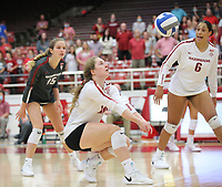 Arkansas Junior Jillian Gillen (10) bumps ball against Auburn on Sunday, Oct. 10, 2021, during play at Barnhill Arena, Fayetteville. Visit nwaonline.com/211011Daily/ for today's photo gallery.<br /> (Special to the NWA Democrat-Gazette/David Beach)