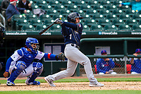 San Antonio Missions third baseman Blake Allemand (7) swings at a pitch during a Pacific Coast League game against the Iowa Cubs on May 2, 2019 at Principal Park in Des Moines, Iowa. Iowa defeated San Antonio 8-6. (Brad Krause/Four Seam Images)