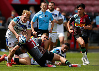 29th May 2021; Twickenham Stoop, London, England; English Premiership Rugby, Harlequins versus Bath; Miles Reid of Bath off loading in the tackle