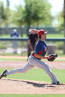Ryan Merritt #36 of the Cleveland Indians pitches during a Minor League Spring Training Game against the Los Angeles Dodgers at the Los Angeles Dodgers Spring Training Complex on March 22, 2014 in Glendale, Arizona. (Larry Goren/Four Seam Images)