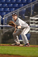 St. John's Red Storm first baseman Frank Schwindel #5 during a game against the Michigan State Spartans at the Big Ten/Big East Challenge at Florida Auto Exchange Stadium on February 17, 2012 in Dunedin, Florida.  (Mike Janes/Four Seam Images)