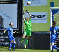 goalkeeper Josephine Delvaux (1) of KRC Genk pictured in action during a female soccer game between Eendracht Aalst and Racing Genk on the 10 th and last matchday of play off 2 of the 2020 - 2021 season of Belgian Scooore Womens Super League , Saturday 29 st of May 2021  in Aalst , Belgium . PHOTO SPORTPIX.BE | SPP | DAVID CATRY