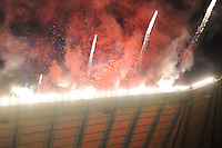 Fireworks are let off before the Aviva Premiership match between Harlequins and Saracens at Twickenham on Tuesday 27 December 2011 (Photo by Rob Munro)