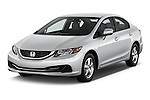 2015 Honda Civic CNG 4 Door Sedan angular front stock photos of front three quarter view