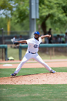 AZL Dodgers relief pitcher Nelfri Contreras (59) delivers a pitch during an Arizona League game against the AZL Padres 2 at Camelback Ranch on July 4, 2018 in Glendale, Arizona. The AZL Dodgers defeated the AZL Padres 2 9-8. (Zachary Lucy/Four Seam Images)