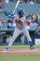 Amarillo Sod Poodles Rodrigo Orozco (12) bats during a Texas League game against the Frisco RoughRiders on May 16, 2019 at Dr Pepper Ballpark in Frisco, Texas.  (Mike Augustin/Four Seam Images)