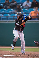 Modesto Nuts catcher Garrett Kennedy (29) at bat during a California League game against the San Jose Giants at San Jose Municipal Stadium on May 15, 2018 in San Jose, California. Modesto defeated San Jose 7-5. (Zachary Lucy/Four Seam Images)
