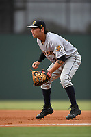 First baseman Brandon Wagner (33) of the Charleston RiverDogs plays defense in a game against the Greenville Drive on Thursday, July 27, 2017, at Fluor Field at the West End in Greenville, South Carolina. Charleston won, 5-2. (Tom Priddy/Four Seam Images)