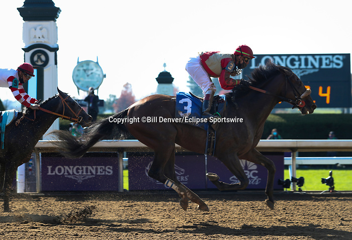 November 6, 2020: Rocketry, ridden by Irad Ortiz, Jr., wins the Thoroughbred Aftercare Alliance Stakes on Breeders' Cup Championship Friday at Keeneland on November 6, 2020: in Lexington, Kentucky. Bill Denver/Eclipse Sportswire/CSM