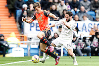 Real Madrid's Daniel Carvajal (r) and Real Sociedad's Sergio Canales during La Liga match.January 31,2015. (ALTERPHOTOS/Acero) /NortePhoto<br /> /NortePhoto.com