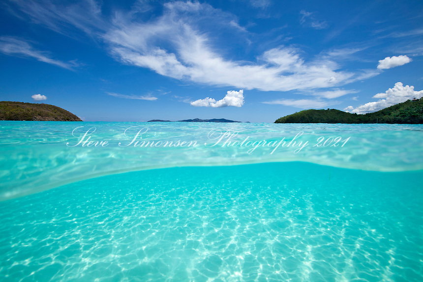 Split level water images<br /> Hawksnest Bay<br /> Virgin Islands National Park<br /> U.S. Virgin Islands