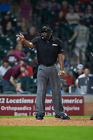 Home plate umpire Joe Harris makes a strike call in the game between the Mississippi State Bulldogs and the Sam Houston State Bearkats during game eight of the 2018 Shriners Hospitals for Children College Classic at Minute Maid Park on March 3, 2018 in Houston, Texas. The Bulldogs defeated the Bearkats 4-1.  (Brian Westerholt/Four Seam Images)