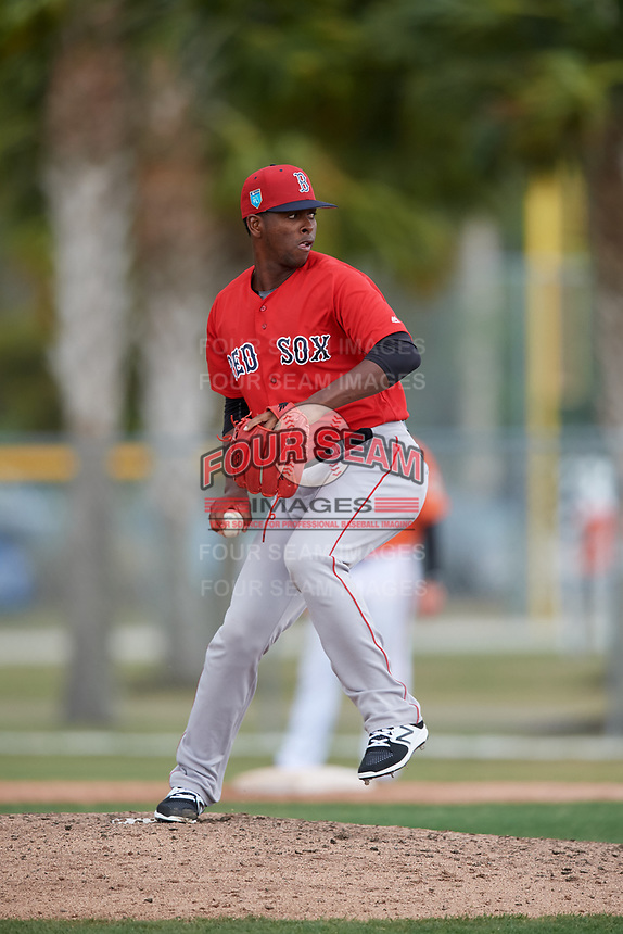 Boston Red Sox pitcher Joan Martinez (61) during a Minor League Spring Training game against the Baltimore Orioles on March 20, 2018 at Buck O'Neil Complex in Sarasota, Florida.  (Mike Janes/Four Seam Images)