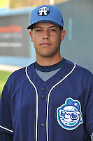 Juan Perez #30 of the Asheville Tourists poses during media day at McCormick Field on April 4, 2011 in Asheville, North Carolina.  Photo by Tony Farlow / Four Seam Images..