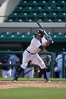 Detroit Tigers Wenceel Perez (80) bats during a Florida Instructional League game against the Toronto Blue Jays on October 28, 2020 at Joker Marchant Stadium in Lakeland, Florida.  (Mike Janes/Four Seam Images)