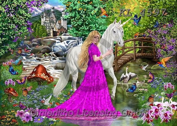 Interlitho-Franco, REALISTIC ANIMALS, REALISTISCHE TIERE, ANIMALES REALISTICOS, paintings+++++,unicorn,fantasy, princess,KL4597,#a#, EVERYDAY,puzzle,puzzles