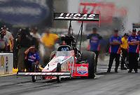 Jul. 31, 2011; Sonoma, CA, USA; NHRA top fuel dragster driver Shawn Langdon during the Fram Autolite Nationals at Infineon Raceway. Mandatory Credit: Mark J. Rebilas-