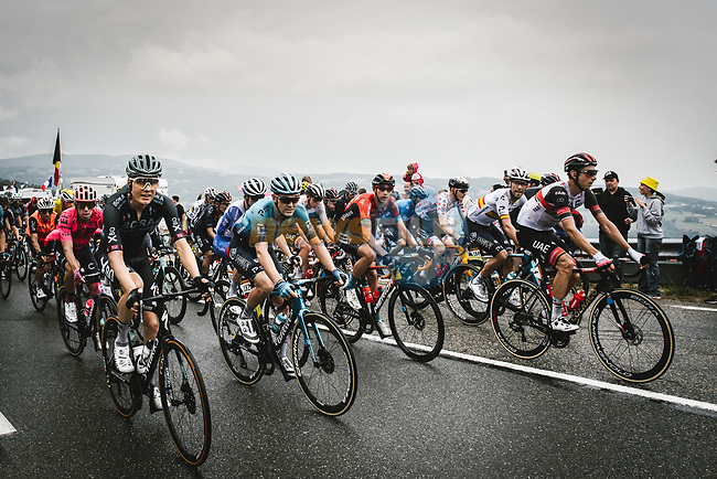 The peloton during Stage 8 of the 2021 Tour de France, running 150.8km from Oyonnax to Le Grand-Bornand, France. 3rd July 2021.  <br /> Picture: A.S.O./Pauline Ballet | Cyclefile<br /> <br /> All photos usage must carry mandatory copyright credit (© Cyclefile | A.S.O./Pauline Ballet)