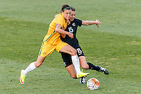June 4, 2016: CHLOE LOGARZO (6) of Australia and MEIKAYLA MOORE (15) of New Zealand fight for the ball during an international friendly match between the Australian Matildas and the New Zealand Football Ferns as part of the teams' preparation for the Rio Olympic Games at Morshead Park in Ballarat. Photo Sydney Low