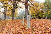 Autumn foliage at Candia Village Cemetery in Candia, New Hampshire during the autumn months.