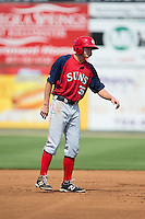Andrew Stevenson (35) of the Hagerstown Suns takes his lead off of second base against the Kannapolis Intimidators at CMC-Northeast Stadium on August 16, 2015 in Kannapolis, North Carolina.  The Suns defeated the Intimidators 7-2 in game one of a double-header.  (Brian Westerholt/Four Seam Images)