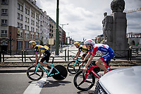 Suisse TT champion Stefan Küng (SUI/Groupama-FDJ) & Dylan Groenewegen (NED/Jumbo-Visma) returning to the start through regular Brussels traffic after the morning course reconnaissance <br /> <br /> Stage 2 (TTT): Brussels to Brussels(BEL/28km) <br /> 106th Tour de France 2019 (2.UWT)<br /> <br /> ©kramon