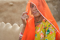 Traditional Villages near Manvar on the way to Jaisalmer, Rajasthan India