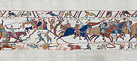 Bayeux Tapestry scene 54: Bishop Odo, holding club, urges Norman cavalry against the Saon soldiers on a hill at the Battle of Hastings. BYX54