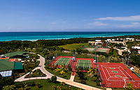 View of grounds and blue water from beautiful expensive elegant Blau Varadero Hotel in the wonderful relaxing Varadero Beach in Cuba