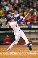 LSU Tigers third baseman Conner Hale (20) swings the bat during the NCAA baseball game against the Houston Cougars on March 6, 2015 at Minute Maid Park in Houston, Texas. LSU defeated Houston 4-2. (Andrew Woolley/Four Seam Images)