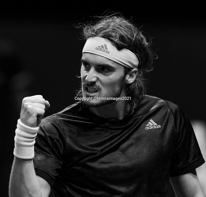Rotterdam, The Netherlands, 4 march  2021, ABNAMRO World Tennis Tournament, Ahoy, First round singles: Stefanos Tsitsipas (GRE).<br /> Photo: www.tennisimages.com/