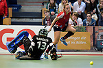 GER - Luebeck, Germany, February 06: During the 1. Bundesliga Damen indoor hockey semi final match at the Final 4 between Berliner HC (blue) and Duesseldorfer HC (red) on February 6, 2016 at Hansehalle Luebeck in Luebeck, Germany. Final score 1-3 (HT 0-1). (Photo by Dirk Markgraf / www.265-images.com) *** Local caption *** Darja Moellenberg #11 of Duesseldorfer HC scores a goal, Amelie Klaumuenzer (TW) #13 of Berliner HC