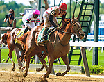 July 10, 2021: Souper Sensational #5, ridden by jockey Flavien Prat wins the Victory Ride Stakes (Grade 3) at Belmont Park in Elmont, New York on July 10, 2021. Dan Heary/Eclipse Sportswire/CSM