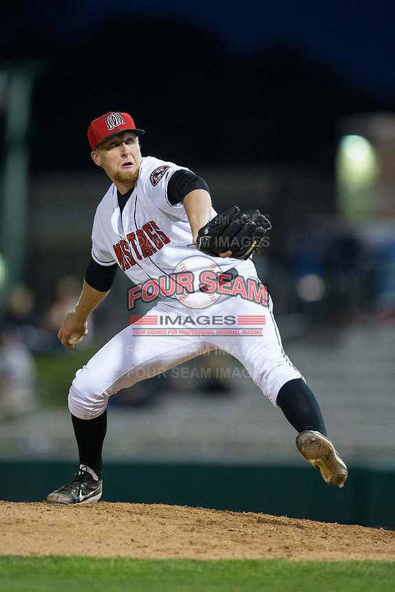 Billings Mustangs relief pitcher John Ghyzel (27) in action against the Missoula Osprey at Dehler Park on August 21, 2017 in Billings, Montana.  The Osprey defeated the Mustangs 10-4.  (Brian Westerholt/Four Seam Images)