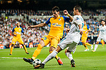 Cristiano Ronaldo (r) of Real Madrid competes for the ball with Praxitellis Vouros of APOEL FC during the UEFA Champions League 2017-18 match between Real Madrid and APOEL FC at Estadio Santiago Bernabeu on 13 September 2017 in Madrid, Spain. Photo by Diego Gonzalez / Power Sport Images