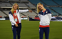 JACKSONVILLE, FL - NOVEMBER 10: Lindsey Horan #9 and Becky Sauerbrunn #4 of the United States walk the stadium during a game between Costa Rica and USWNT at TIAA Bank Field on November 10, 2019 in Jacksonville, Florida.