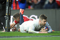 Elliot Daly of England runs in a try during the Guinness Six Nations match between England and Wales at Twickenham Stadium on Saturday 7th March 2020 (Photo by Rob Munro/Stewart Communications)