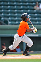 Second baseman Jalen Miller (5) of the Augusta GreenJackets bats in a game against the Greenville Drive on Sunday, June 12, 2016, at Fluor Field at the West End in Greenville, South Carolina. Greenville won, 11-8. (Tom Priddy/Four Seam Images)