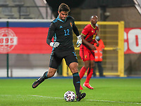 goalkeeper Senne Lammens (12) of Belgium with the ball during a soccer game between the national teams Under21 Youth teams of Belgium and Kazakhstan on the third matday in group I for the qualification for the Under 21 EURO 2023 , on friday 8 th of october 2021  in Leuven , Belgium . PHOTO SPORTPIX | SEVIL OKTEM