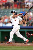 Tri-City ValleyCats second baseman Alex Hernandez (13) hits a home run during a game against the Batavia Muckdogs on August 2, 2014 at Joseph L. Bruno Stadium in Troy, New  York.  Tri-City defeated Batavia 8-4.  (Mike Janes/Four Seam Images)