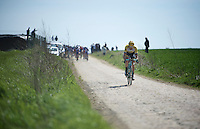 Maarten Wynants (BEL/LottoNL-Jumbo) trying to bridge the gap to the group ahead where team captain Sep Vanmarcke is riding on sector 26: Viesly à Quiévy (1.8km)<br /> <br /> 113th Paris-Roubaix 2015