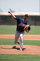Cleveland Indians relief pitcher Luis Santos (26) delivers a pitch during an Extended Spring Training game against the Arizona Diamondbacks at the Cleveland Indians Training Complex on May 27, 2018 in Goodyear, Arizona. (Zachary Lucy/Four Seam Images)