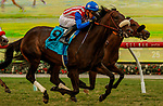 DEL MAR, CA  JULY 24:  #9 Madone, ridden by Juan Hernandez, battles #2 Going Global, ridden by Flavien Prat, in the stretch of the San Clemente Stakes (Grade ll) on July 24, 2021 at Del Mar Thoroughbred Club in Del Mar, CA  (Photo by Casey Phillips/Eclipse lSportswire/CSM)