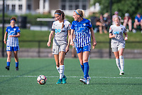 Boston, MA - Saturday June 24, 2017: Ashley Hatch and Megan Oyster during a regular season National Women's Soccer League (NWSL) match between the Boston Breakers and the North Carolina Courage at Jordan Field.