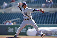 New Orleans Zephyrs starting pitcher Jose Urena (34) throws during the game against the Iowa Cubs  at Principal Park on April 13, 2016 in Des Moines, Iowa.  The Cubs won 9-5 .  (Dennis Hubbard/Four Seam Images)