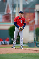 New Hampshire Fisher Cats starting pitcher Josh DeGraaf (22) looks in for the sign during a game against the Erie SeaWolves on June 20, 2018 at UPMC Park in Erie, Pennsylvania.  New Hampshire defeated Erie 10-9.  (Mike Janes/Four Seam Images)